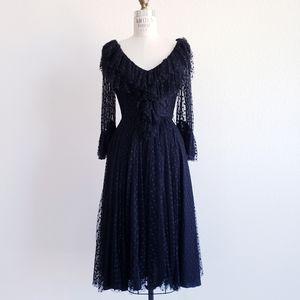Vintage 70s Miss Ashlee Black Dotted Net Dress